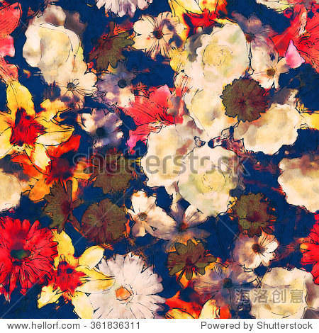 art vintage watercolor floral seamless pattern with white, gold yellow and pink red lilies, roses, asters and gerberas on dark blue background