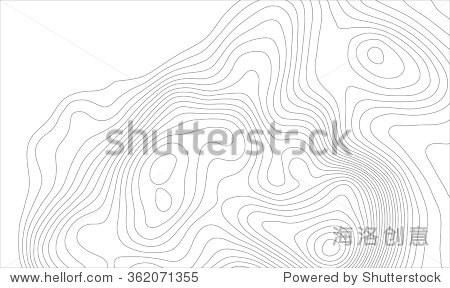 背景光威尼斯平底渔船地形等高线图,矢量图