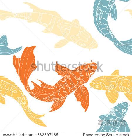 无缝的锦鲤模式.手绘图形与涂鸦装饰鱼