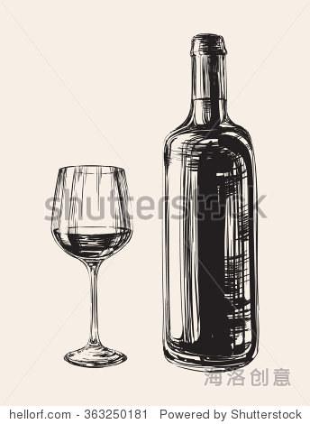 手绘插图酒杯和酒瓶手绘插图酒杯和酒瓶 - 食品及饮料
