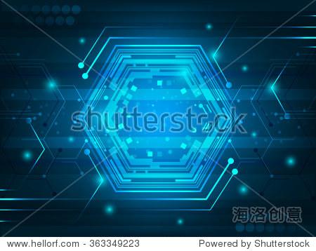 抽象的数字创新背景,电路板,六边形,闪亮的效果,闪闪发光.矢量插图.