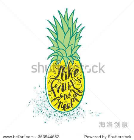 海报和菠萝.手绘字体.矢量图