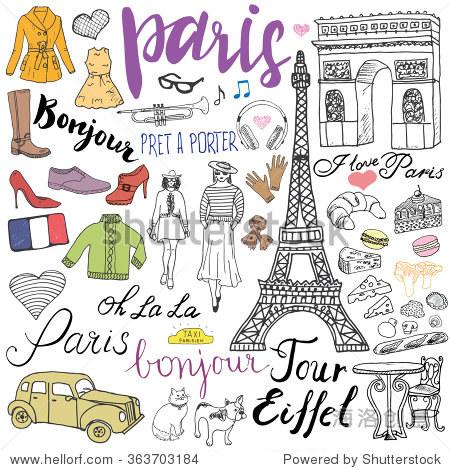 巴黎涂鸦元素.手绘与埃菲尔铁塔了咖啡馆,出租车凯旋