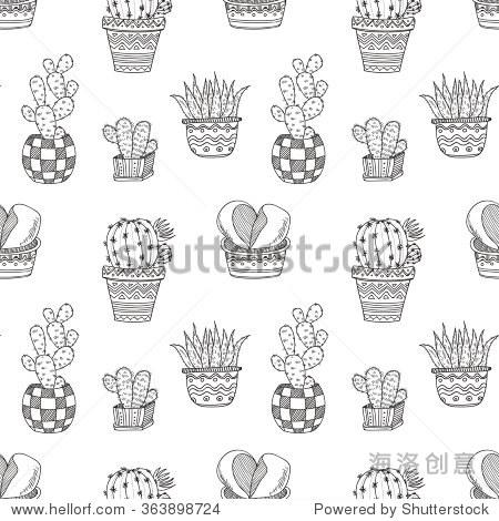 无缝模式与可爱的手绘仙人掌和肉质植物.涂鸦的植物.向量