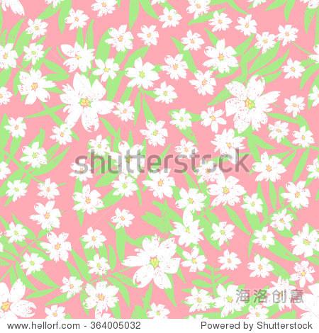 向量无缝模式与手绘小白花与叶子粉红色背景