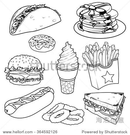 汉堡包的简笔画步骤