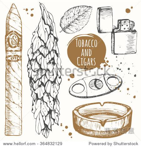 一些烟草和雪茄的素描风格.矢量插图烟灰缸,雪茄