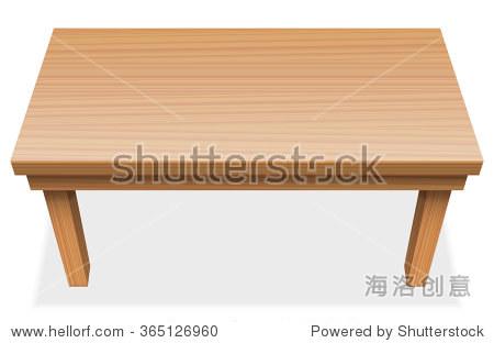 长表与木质纹理——从上面透视图——孤立在白色背景矢量图.
