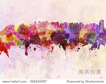库里提巴的天际线在水彩背景 - 建筑物/地标,艺术