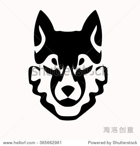 矢量图的狼面对黑白的纹身-动物/野生生物-海洛创意