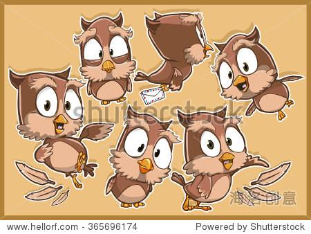 非常可爱的猫头鹰鸟卡通人物设置与不同的姿势和情感孤立的棕色的背景