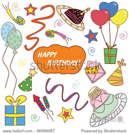 矢量图与许多事情庆祝生日,聚会
