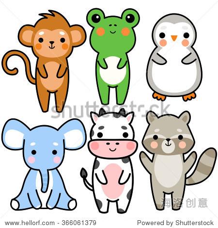 组六插图的可爱的卡通小猴子,青蛙,企鹅,大象,牛和浣熊在白色背景上.