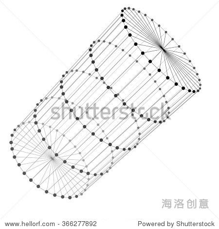 圆柱体线框.点和线连接.连接结构.向量3 d演示.