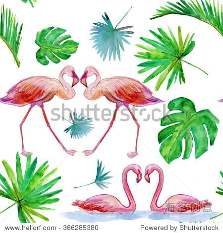 水彩粉红色的火烈鸟,热带丛林棕榈叶.