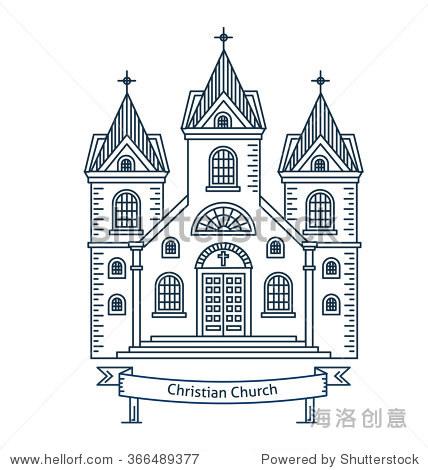 基督教教堂,教堂,教区.平线矢量结构说明.
