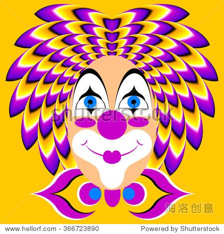 滑稽小丑在黄色背景(运动错觉) - 背景/素材,抽象