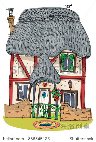 稻草覆盖传统的老式房子——卡通图片