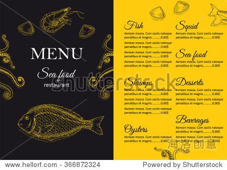 餐厅菜单设计.咖啡馆菜单的封面.海鲜菜单传单.菜单小