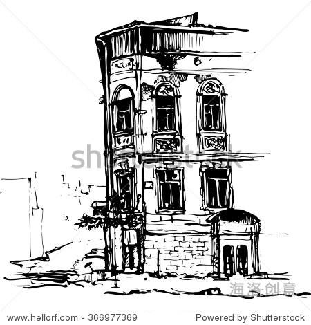 城市素描,城建,手绘矢量插图 - 建筑物/地标,公园