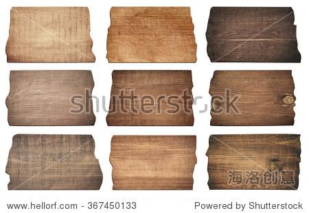 棕色的木板,招牌,木板是孤立在白色背景
