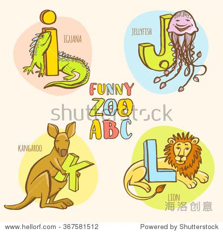 矢量插图有趣的动物园的动物孩子的字母.手绘油墨色彩