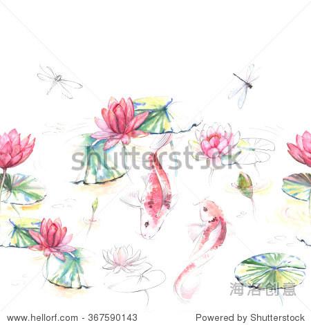 手绘水彩无缝模式在日本风格.重复的背景与荷花锦鲤鱼