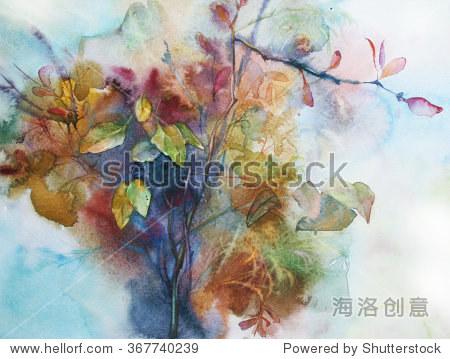 水彩画描绘一束秋天树枝和草的叶片-背景/素材,艺术