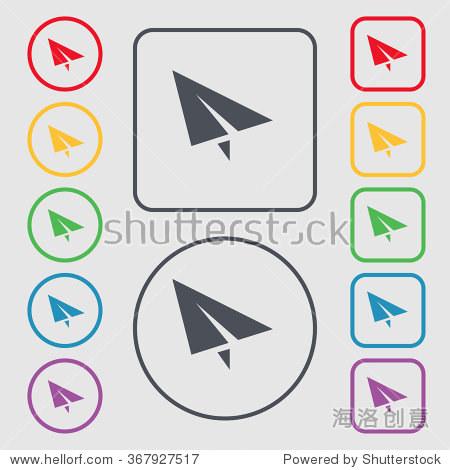 纸飞机图标符号.象征在圆形和方形按钮框架.插图