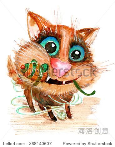 手绘水彩插图没有跟踪.有趣的猫玩具老鼠.