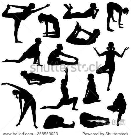 的女孩在白色背景上的各种瑜伽姿势剪影.-人物,运动