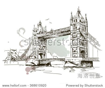 手绘伦敦塔桥的插图孤立 - 建筑物/地标,复古风格