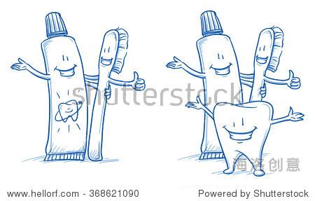 可爱的卡通牙刷和牙膏,没有快乐幸福的牙齿.手绘艺术卡通矢量插图.