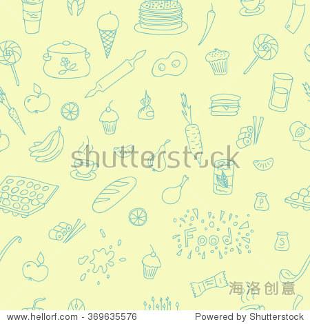 涂鸦图案与烹饪元素手绘网页设计,纺织品设计,壁纸和背景.
