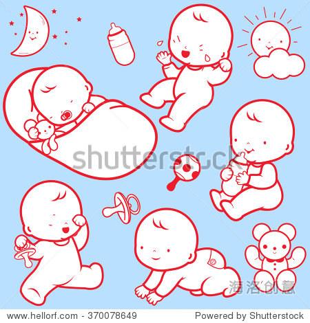矢量图标说明婴儿的日常生活:婴儿睡觉,玩耍,哭泣,喝牛奶,爬行.