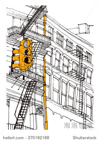 透视街道手绘画法