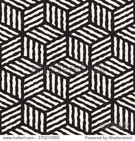 向量无缝黑白手绘线几何条纹多维数据集模式抽象背景
