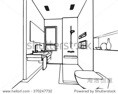 轮廓草图绘制透视图的室内空间