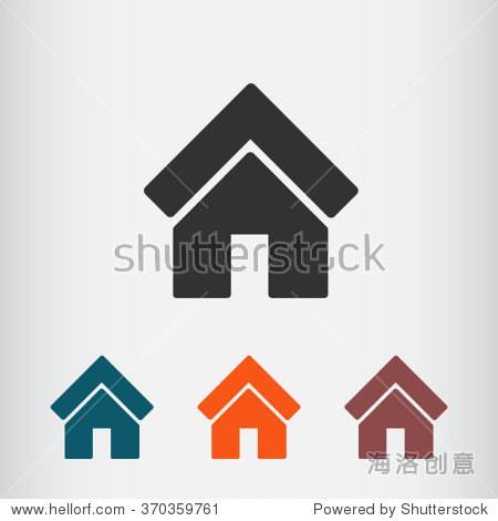 房子图标,矢量图.平面设计风格 - 符号/标志,室内
