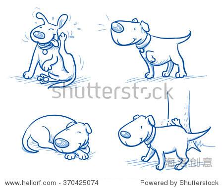 可爱的卡通狗.睡觉,抓挠,撒尿,倾听.手绘涂鸦