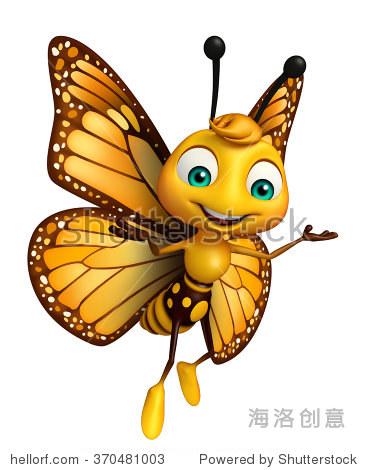 d渲染插图有趣的蝴蝶卡通人物-动物/野生生物-海洛