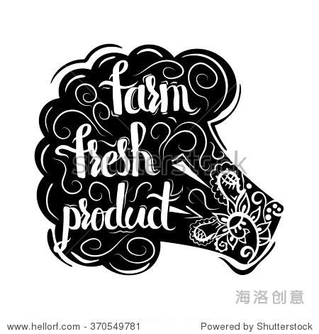 创意海报排版和字体的黑色剪影素食花椰菜与手工饰品孤立在白色背景与