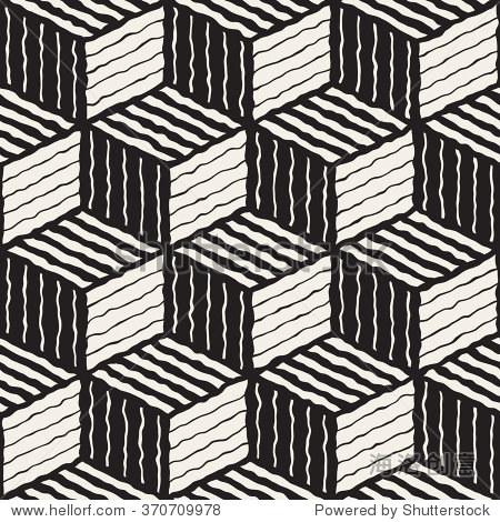 向量无缝黑白手绘线几何条纹立方体阴影模式抽象背景