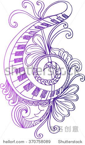 向量花卉装饰的高音谱号.手绘插图.