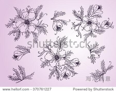 向量组手绘花,树枝和树叶.紫色粉红色背景轮廓.