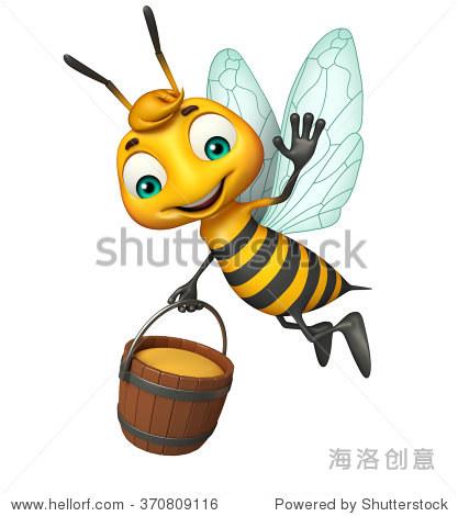 3 d渲染插图蜜罐的蜜蜂卡通人物 - 动物/野生生物,及