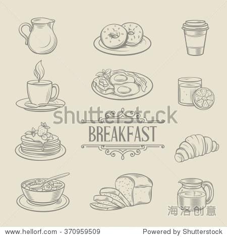 装饰手绘图标早餐食品咖啡甜甜圈果汁羊角面包面包粥.
