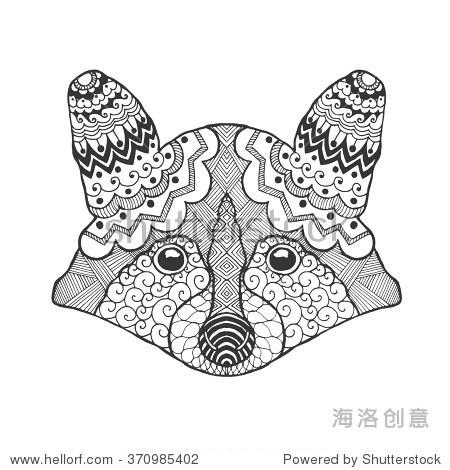黑白色的手绘涂鸦的动物.民族图案矢量图.