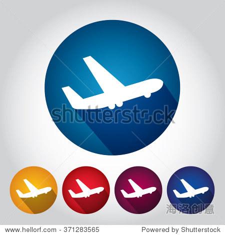 飞机或飞机图标,颜色的徽章,极小的白色背景矢量剪影.