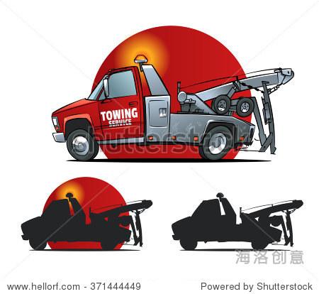 牵引卡车侧面.卡通插图.牵引卡车轮廓
